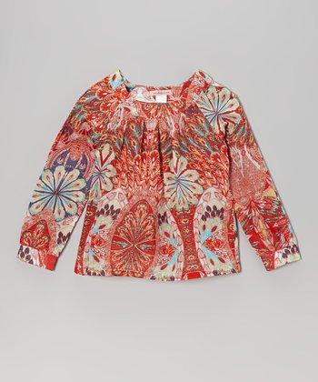 Red Peacock Top - Toddler & Girls