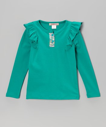 Green Ruffle Henley - Toddler & Girls