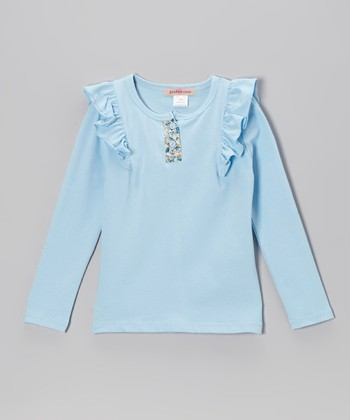 Sky Blue Ruffle Henley - Toddler & Girls