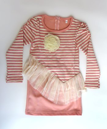 Pink Stripe Asymmetrical Ruffle Tunic  - Toddler & Girls