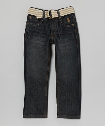 Medium Wash Belted Jeans - Boys