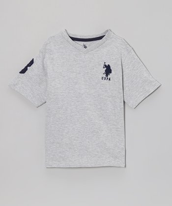 Light Heather Gray 'USPA' V-Neck Tee - Toddler & Boys