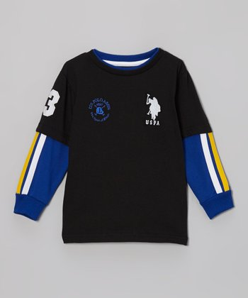 Black & Blue Layered Tee - Toddler & Boys