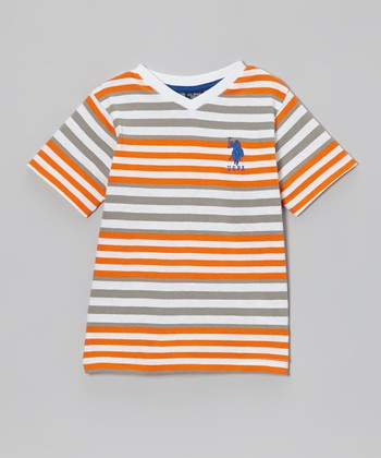 Summer Orange Stripe V-Neck Tee - Toddler & Boys