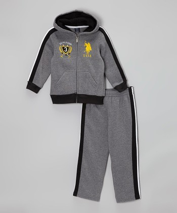 Medium Heather Gray Zip-Up Hoodie & Sweatpants- Infant & Toddler