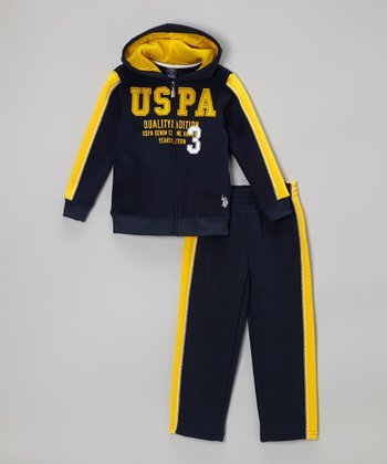 Navy Zip-Up & Sweatpants - Toddler