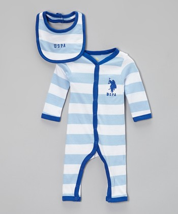 Sky Blue Stripe Playsuit & Bib - Infant