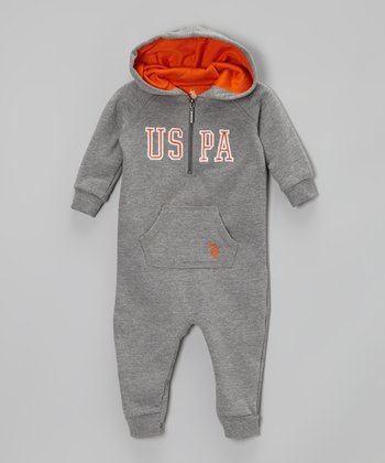 Medium Heather Gray Hooded Zip Playsuit - Infant