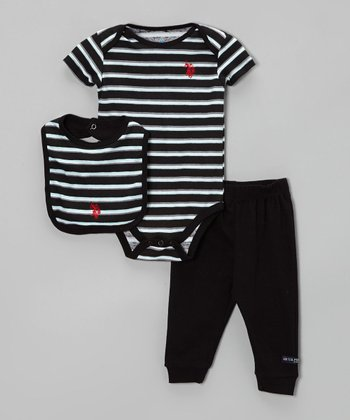 Black & White Stripe Bodysuit Set - Infant