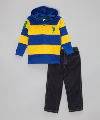 Blue & Gold Stripe Hooded Polo & Jeans - Toddler