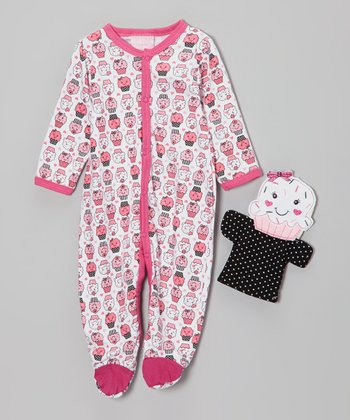 Pink Cupcake Footie & Puppet - Infant