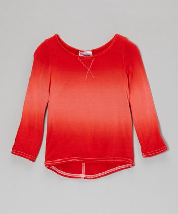 Red Dip-Dye Tee - Infant, Toddler & Girls