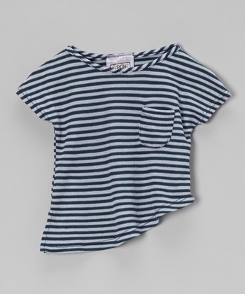 Navy Harvest Stripe Asymmetrical Tee - Infant, Toddler & Girls