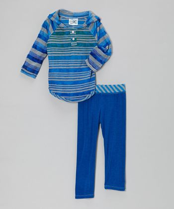Royal Blue Stripe Hooded Tee & Leggings - Infant, Toddler & Girls