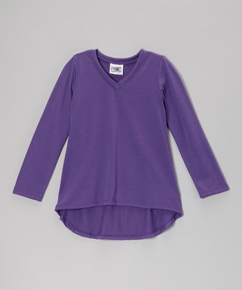 Dark Purple Long-Sleeve V-Neck Tee - Girls