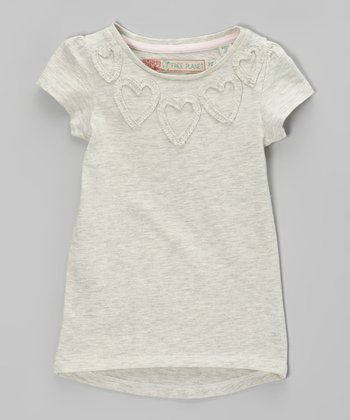 Oatmeal Hailey Heart Tee - Girls