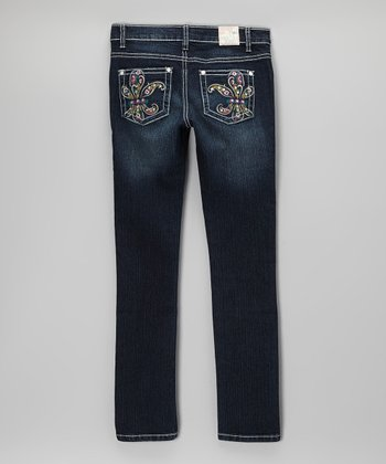 Dark Wash Lia's Paisley Jeans - Girls