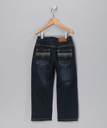 Dark Wash Stripe Pocket Jeans - Infant, Toddler & Boys