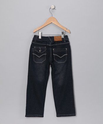 Dark Wash Stitch V-Pocket Jeans - Toddler & Boys