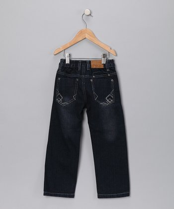 Dark Wash Geometric Pocket Jeans - Toddler