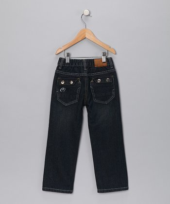 Dark Wash Double Button Pocket Jeans - Toddler