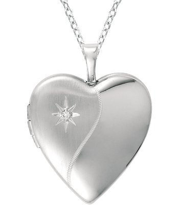 Diamond & Silver Star Heart Locket Necklace