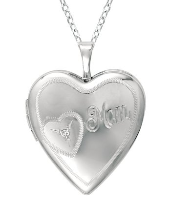 Diamond & Silver 'Mom' Heart Locket Necklace
