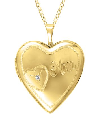 Diamond & Gold 'Mom' Heart Locket Necklace