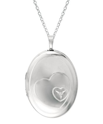 Diamond & Silver Heart Oval Locket Necklace