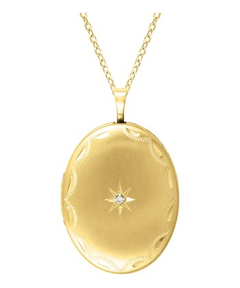Diamond & Gold Oval Locket Necklace