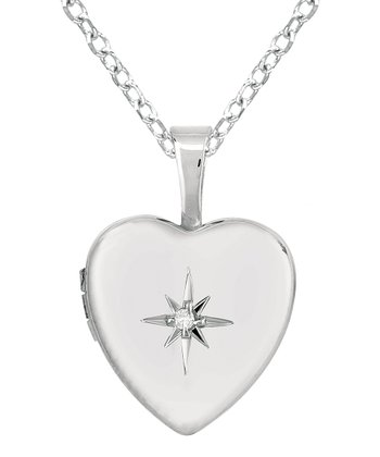 Diamond & Silver Centered Star Heart Locket Necklace