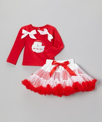Red & White Santa Top & Pettiskirt - Infant, Toddler & Girls
