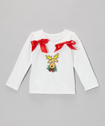 White Reindeer Bow Top - Infant, Toddler & Girls