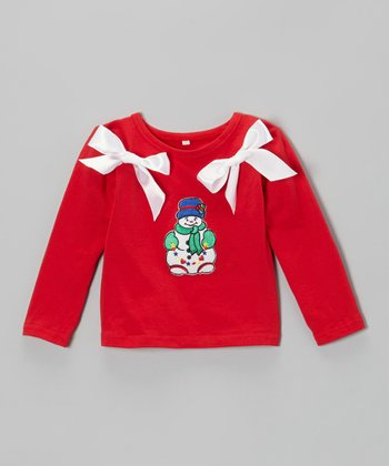 Red Snowman Bow Top - Infant, Toddler & Girls