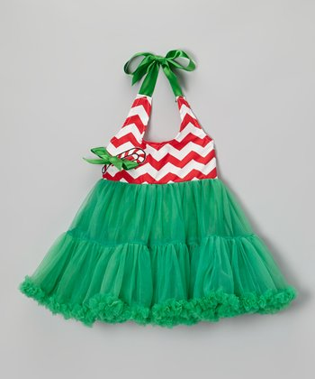 Green Candy Cane Halter Pettiskirt Dress - Girls