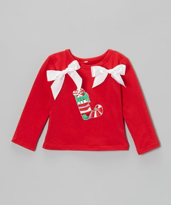 Red Stocking Bow Top - Toddler & Girls