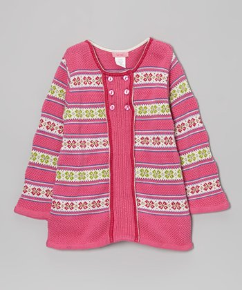 Pink Fair Isle Snowflake Button Tunic - Toddler & Girls