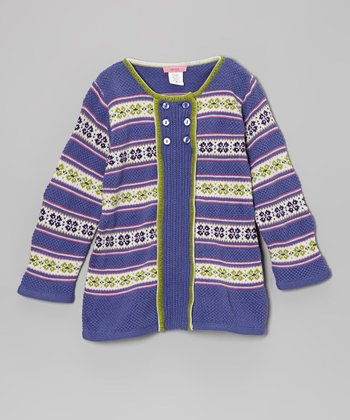 Purple Fair Isle Snowflake Button Tunic - Toddler & Girls