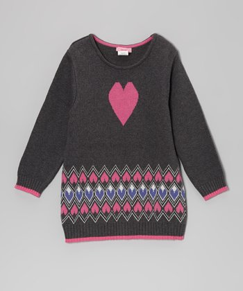 Gray & Pink Argyle Heart Tunic - Toddler & Girls