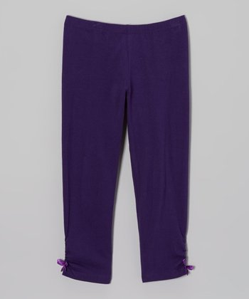 Purple Ruched Bow Leggings - Toddler & Girls