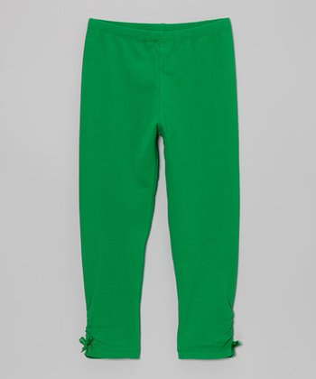 Green Ruched Bow Leggings - Toddler & Girls