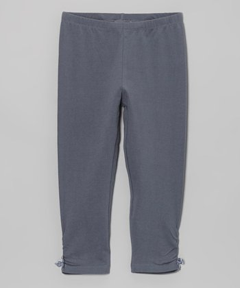 Gray Ruched Bow Leggings - Toddler & Girls