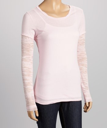 Baby Pink Sublimated Layered Tee - Women