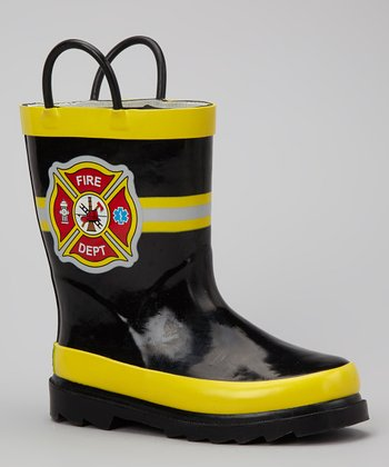 Black Fire Department Rain Boot
