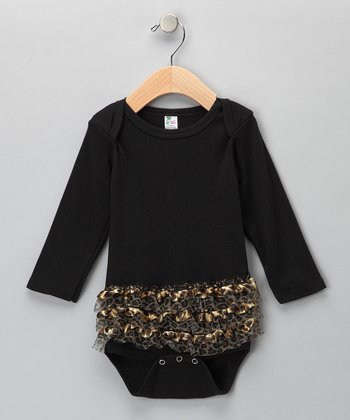 Black Leopard Ruffle Bodysuit - Infant