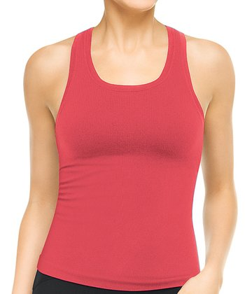 Ribbed Racerback Tank - Orange Burst