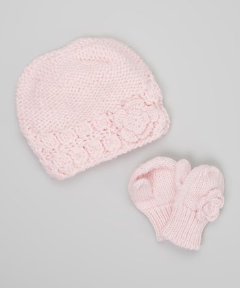 Light Pink Flower Beanie & Mittens