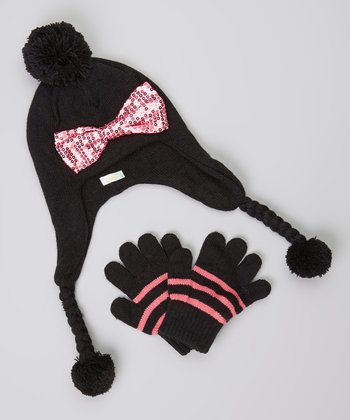 Black & Pink Sequin Bow Earflap Beanie & Gloves