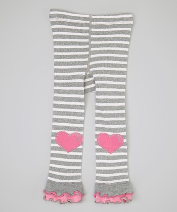 Gray Stripe Heart Footless Tights - Infant & Girls