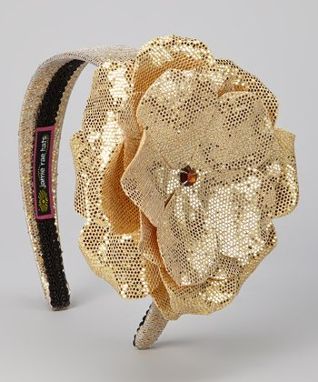 Gold Sequin Rose Headband